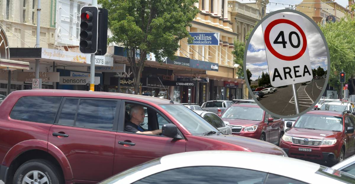 CITY TRAFFIC: Lunchtime congestion in the Orange CBD on Monday ahead of council considering a 40km/h speed limit for the area. Main photo: CARLA FREEDMAN