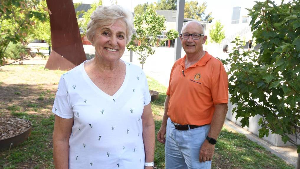 POSTPONED: Bush poet Carol Heuchan with Orange Rotary club secretary Len Banks ahead of the 2020 festival. Photo: JUDE KEOGH