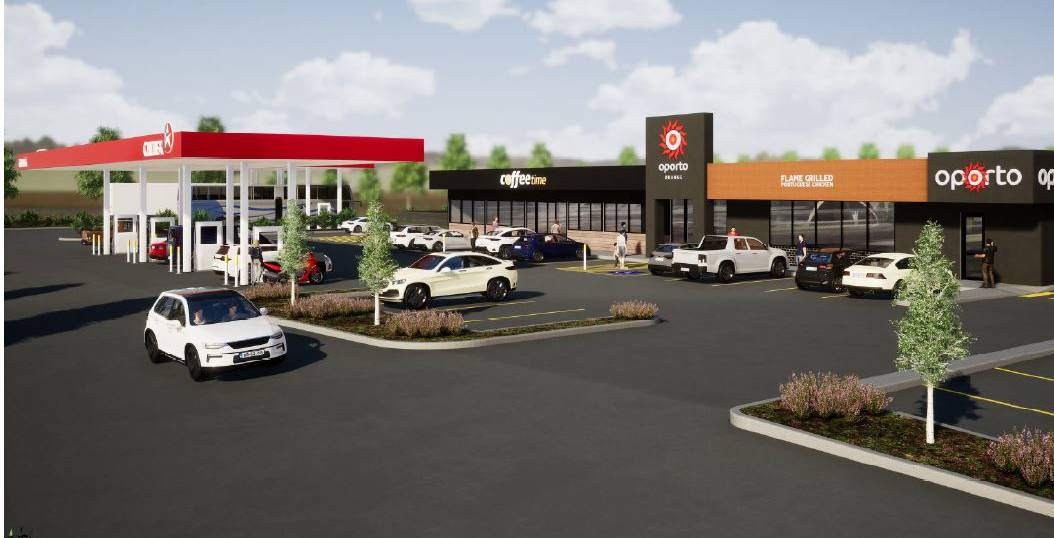 FIRST LOOK: How the Caltex highway service centre and Oporto Orange will appear when built on the Northern Distributor Road in north Orange. Photo: Supplied