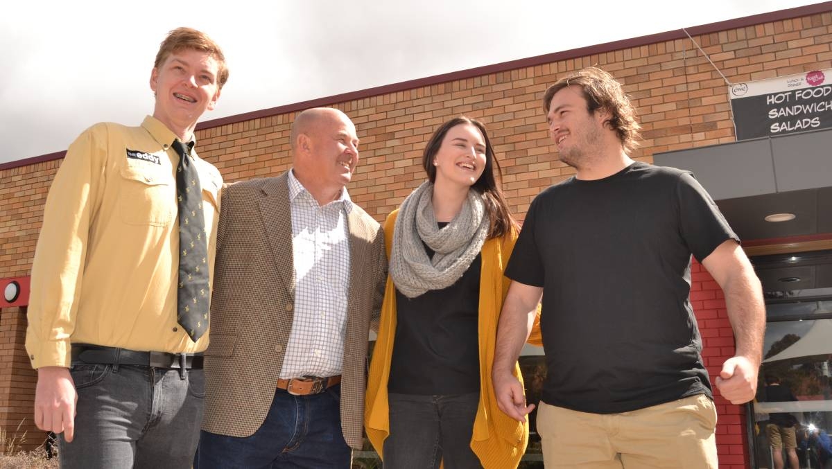 HAPPY ENDING: Then Orange City rugby coach Steve Hamson (second from left) with CSU students Andrew Fraser, Emma Curtin and Jack Keppel. A defib and the work of the CSU students helped save Mr Hamson's life in 2017.