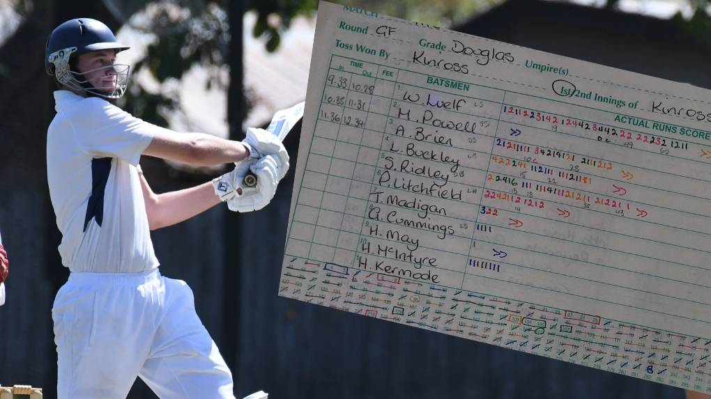 BANG: Big-hitting Kinross bat Sam Ridley hit 44 against TAS in the Douglas Shield final.  Photo: JUDE KEOGH
