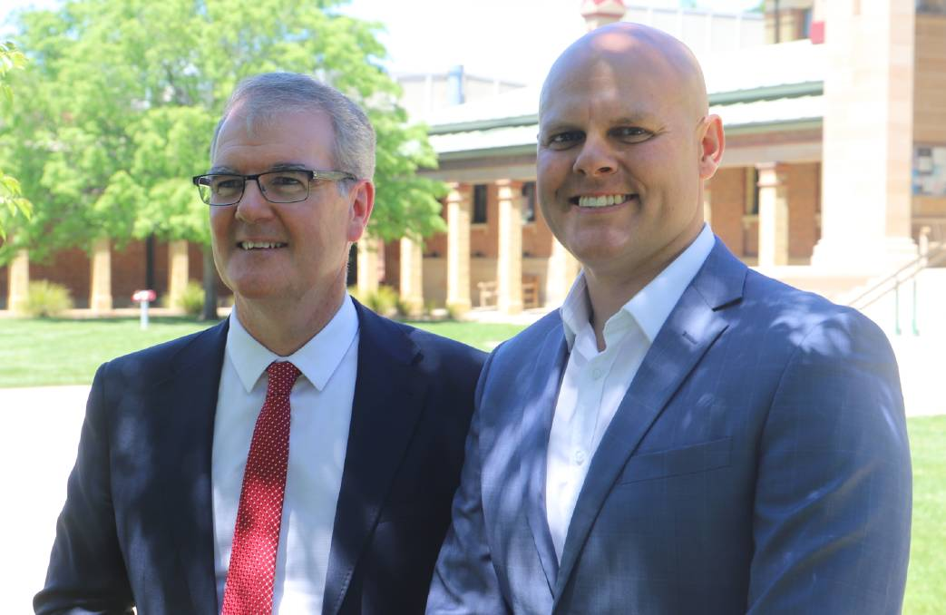CAMPAIGN TRAIL: Deputy opposition leader Michael Daley with the Labor Party's candidate for Bathurst Beau Riley at the Bathurst Court House on Friday.