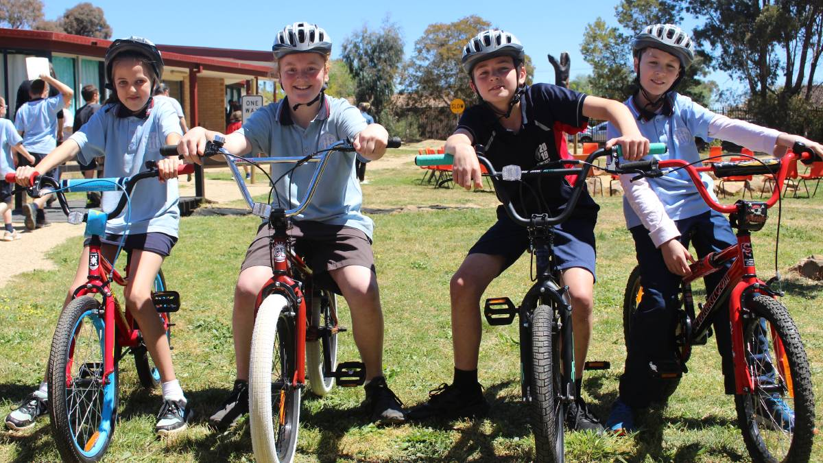 RIDE TOGETHER: Skylah Keen, Jimmy Wills, Koby Heap and Ethan Hannan on Bowen Public School's new bikes. Photo: MAX STAINKAMPH