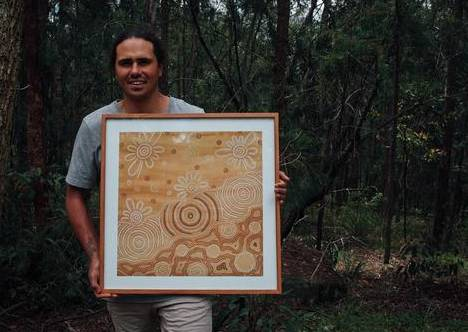 LEGACY: Proud Nhunngabarra man and artist Sandon Gibbs-O'Neill is the grandson of Tex Skuthorpe. Both of their art will be on display for NAIDOC. PHOTO: SUPPLIED